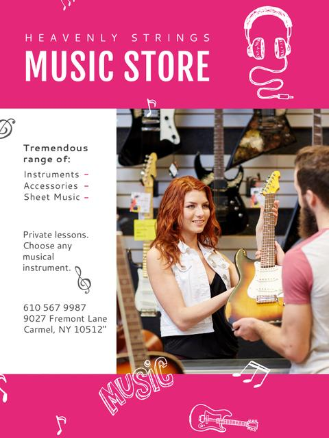 Modèle de visuel Music Store Ad Seller with Guitar - Poster US