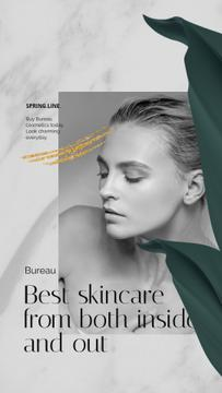 Skincare products ad Beautiful Young Woman
