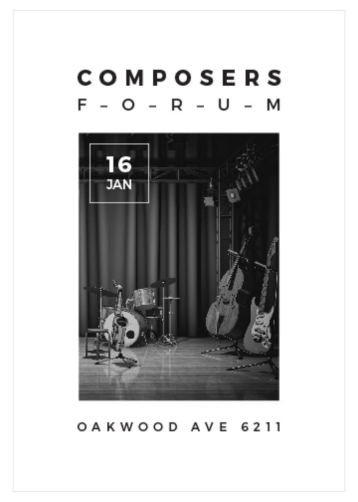 Composers Forum with Music Instruments on Stage Invitation Modelo de Design