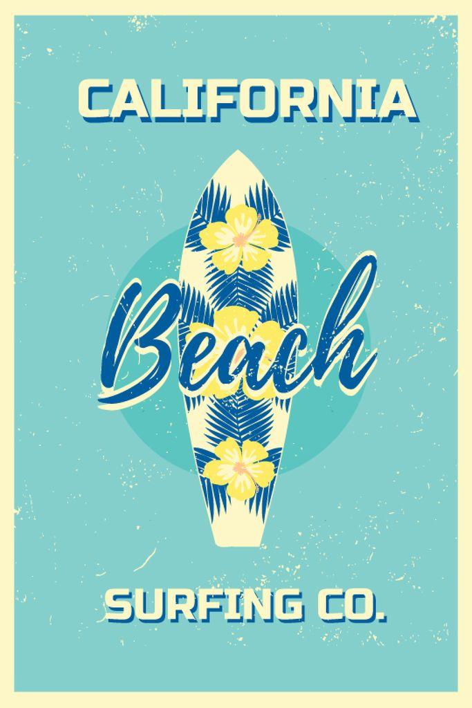 Surfing Tour Offer Surfboard on Blue — Створити дизайн