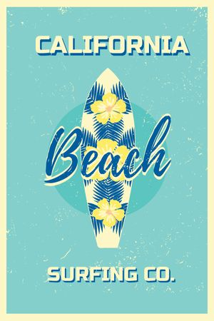 Template di design Surfing Tour Offer Surfboard on Blue Tumblr