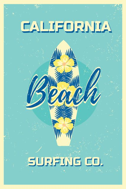 Surfing Tour Offer Surfboard on Blue Tumblr – шаблон для дизайна