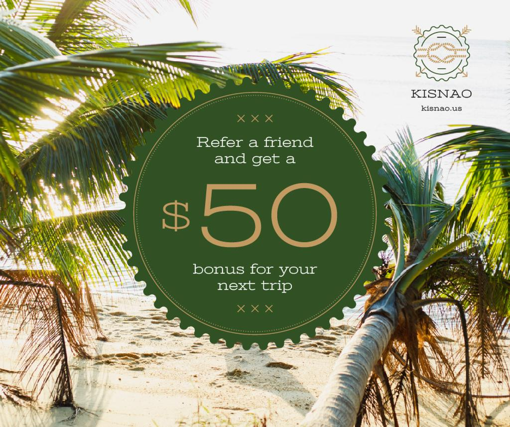 Modèle de visuel Summer Trip Offer Tropical Palm Trees - Facebook