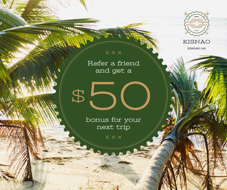 Szablon projektu Summer Trip Offer Tropical Palm Trees Facebook