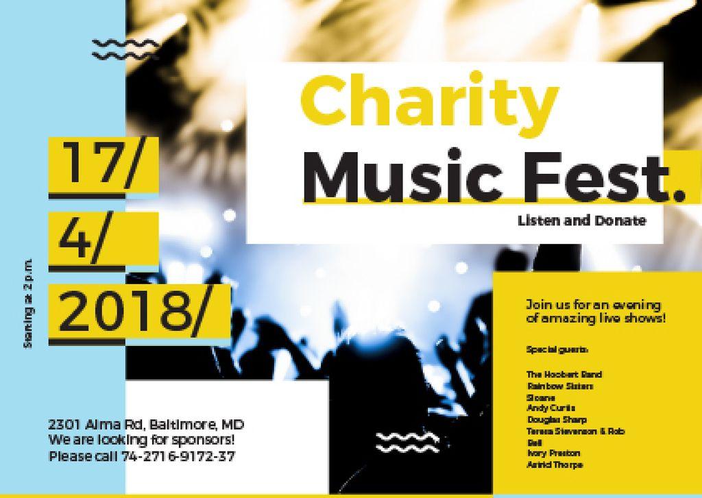 Music Fest Invitation Crowd at Concert Postcard Design Template