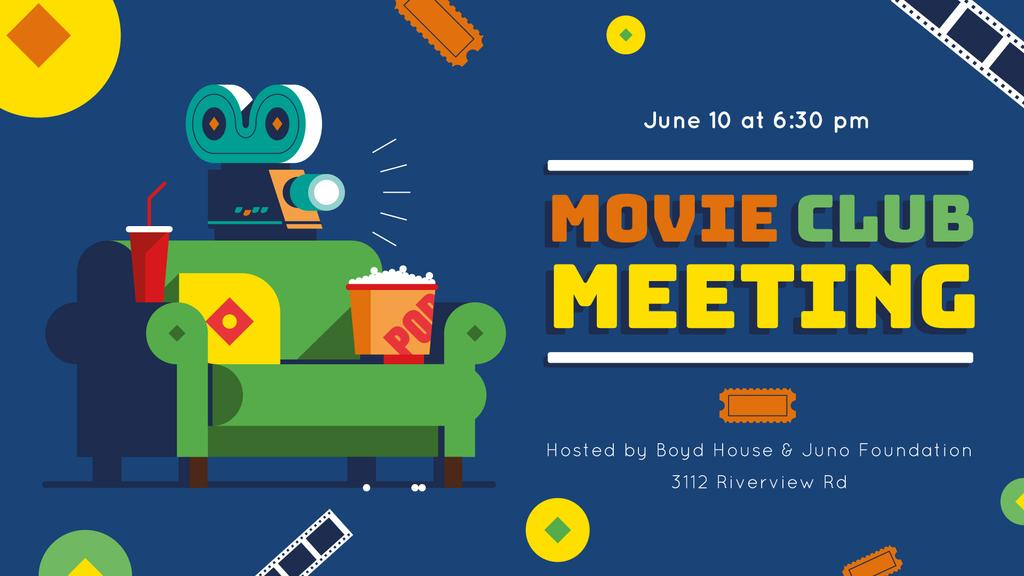 Movie Club Invitation with Vintage Film Projector | Facebook Event Cover Template — Создать дизайн