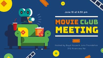 Movie Club Invitation with Vintage Film Projector | Facebook Event Cover Template