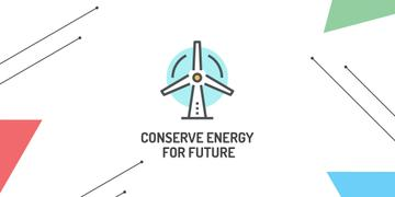 Conserve Energy Wind Turbine Icon | Twitter Post Template