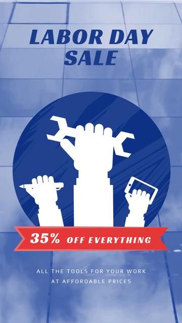 Labor Day Sale Hands with Tools Instagram Video Story Tasarım Şablonu