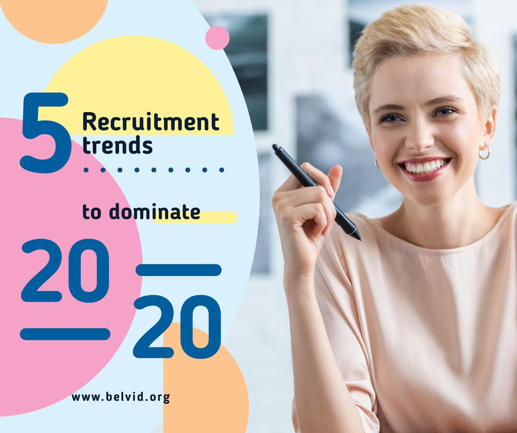 Business Tips Confident Smiling Woman   Facebook Post Template — Створити дизайн