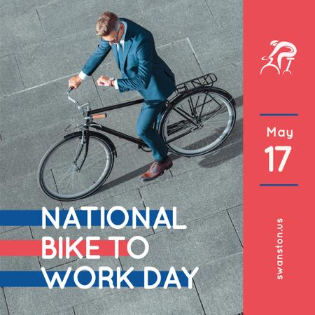 Man riding bicycle in city on Bike to work Day Instagram Modelo de Design