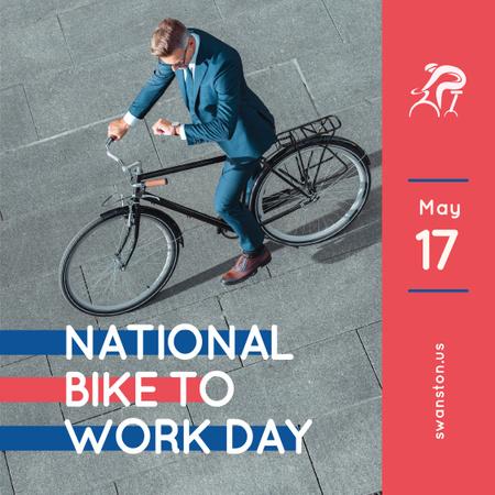 Plantilla de diseño de Man riding bicycle in city on Bike to work Day Instagram