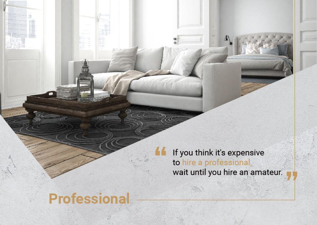 Real Estate Ad Modern Interior in Grey | Postcard Template — ein Design erstellen