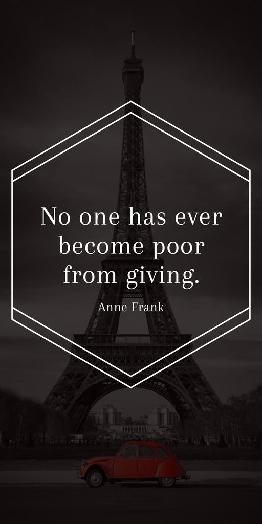 Citation about no one is poor — ein Design erstellen