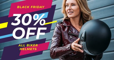 Template di design Black Friday Promotion Woman Holding Helmet Facebook AD