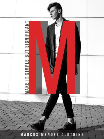 Fashion ad with Young Man Poster US Modelo de Design