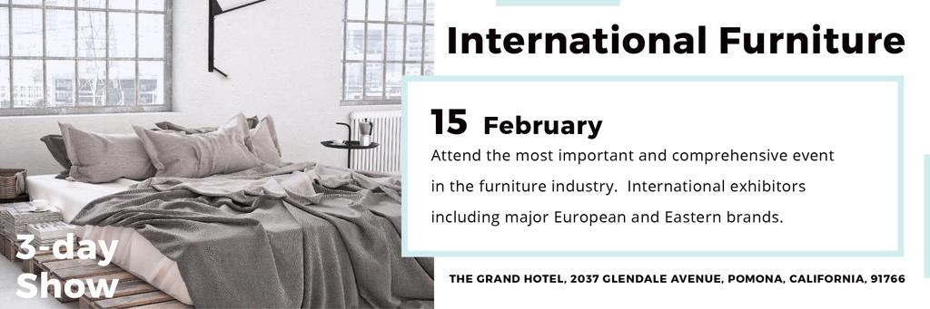 Furniture Store Ad Bedroom in Grey Color | Twitter Header Template — ein Design erstellen