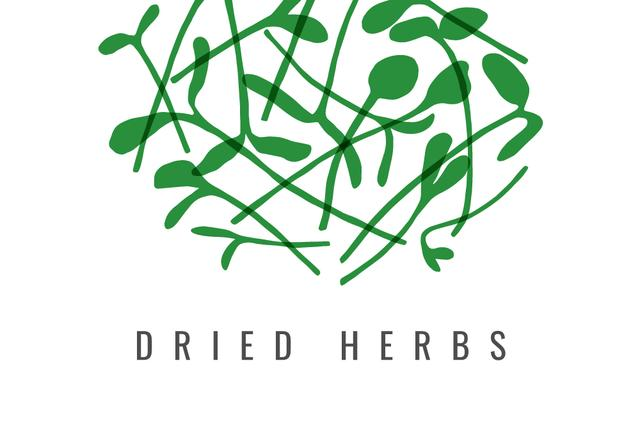 Dried herbs ad with Green leaves Label Modelo de Design