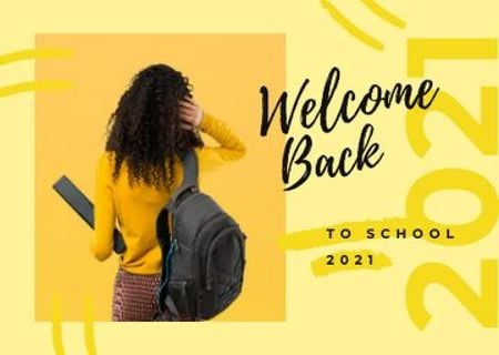Template di design Female student with backpack Postcard