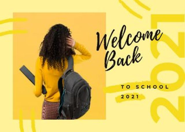 Female student with backpack Postcard Design Template