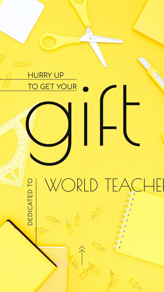 World Teachers' Day Gift Stationery in Yellow Instagram Story Modelo de Design