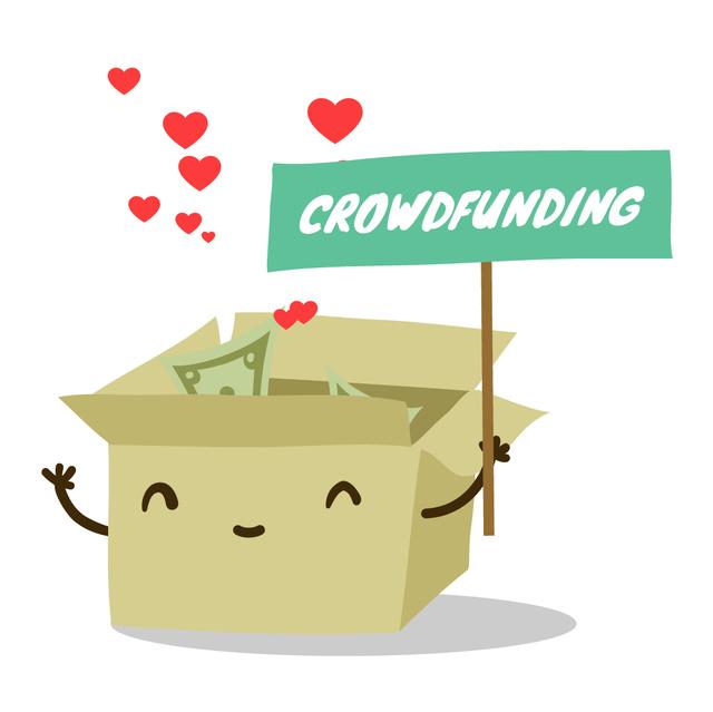 Money filling cardboard box for Crowdfunding Animated Post – шаблон для дизайна