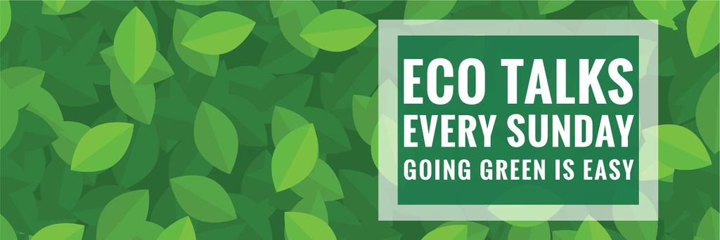 Ecological Event Announcement Green Leaves Texture | Twitter Header Template — Створити дизайн