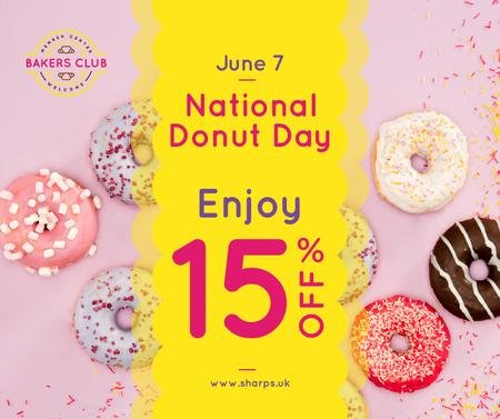 Modèle de visuel Delicious glazed Donuts day sale - Facebook