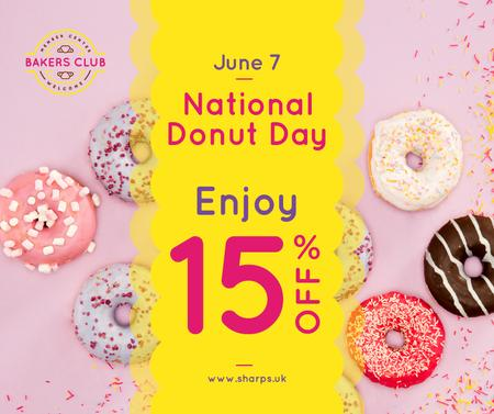 Delicious glazed Donuts day sale Facebook Design Template