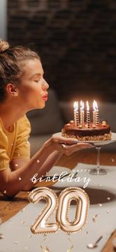 Young Woman with Birthday cake
