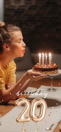 Ontwerpsjabloon van Snapchat Moment Filter van Young Woman with Birthday cake