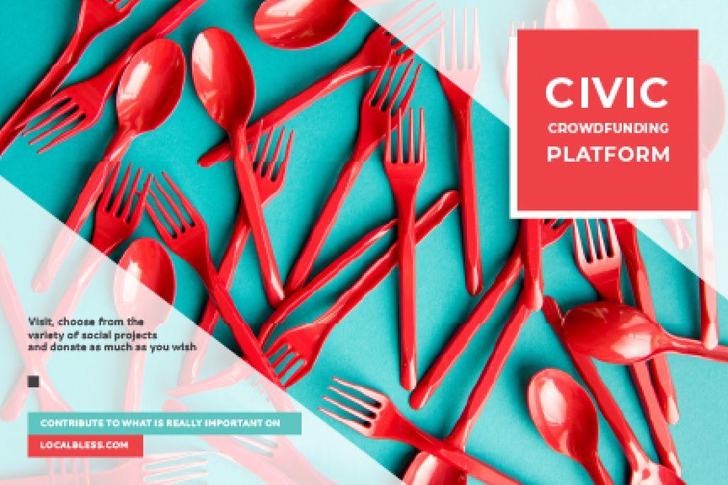 Crowdfunding Platform with Red Plastic Tableware — ein Design erstellen