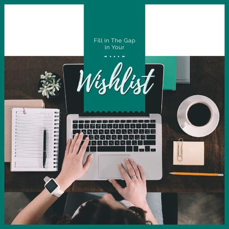 Ontwerpsjabloon van Instagram AD van Woman creating Wishlist on Laptop