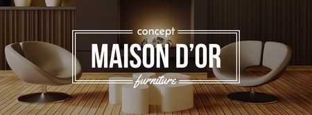 Home decor design with modern furniture Facebook cover Modelo de Design