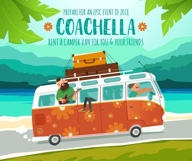 Coachella bus rental ad service Facebook Design Template