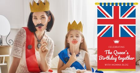 Template di design The Queen's Birthday Celebration Facebook AD