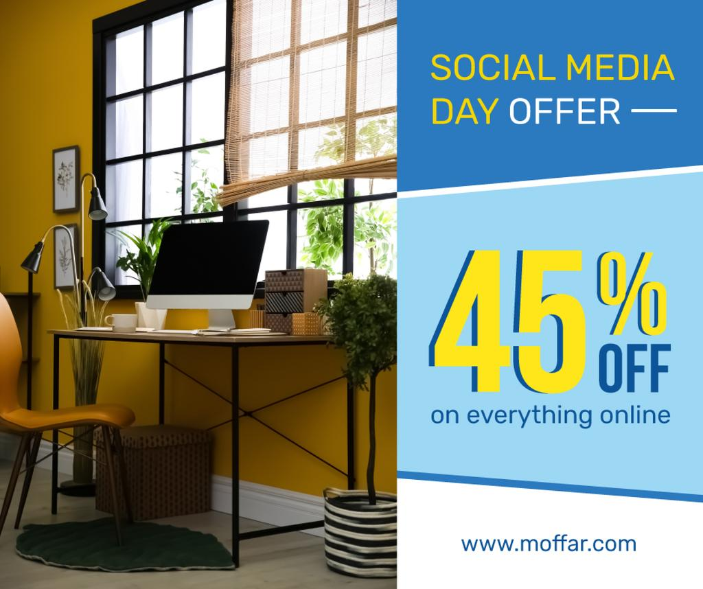Social Media Day Offer Computer on Working Table — Створити дизайн