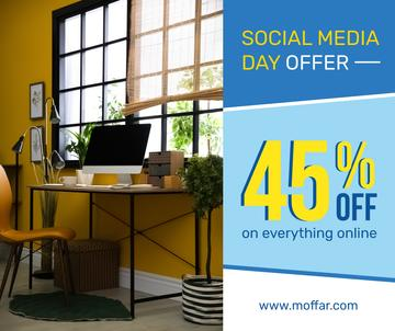 Social Media Day Offer Computer on Working Table | Facebook Post Template