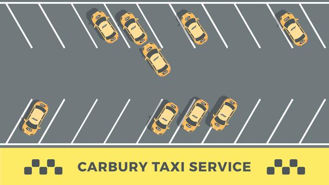 Designvorlage Taxi Cars at Parking Lot für Full HD video