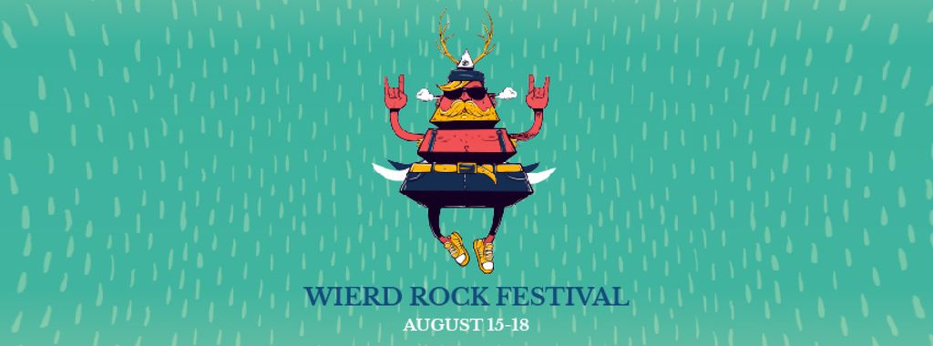 Rock Festival Announcement Flying Bug in Blue | Facebook Video Cover Template — ein Design erstellen