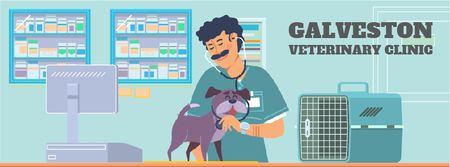 Modèle de visuel Vet taking care of dog - Facebook Video cover