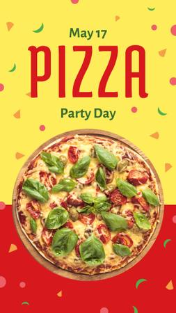 Pizza Party Day on yellow and red Instagram Story – шаблон для дизайна