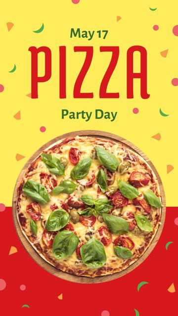 Modèle de visuel Pizza Party Day on yellow and red - Instagram Story