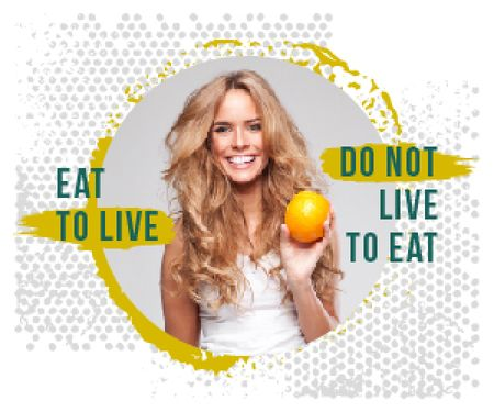 Nutrition Quote Smiling Woman Holding Orange Medium Rectangle Modelo de Design
