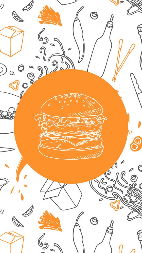 Restaurant food icons and pattern — Создать дизайн