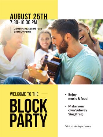 Plantilla de diseño de Friends at Block Party with Guitar Poster US