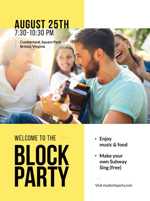 Friends at Block Party with Guitar Poster US Design Template