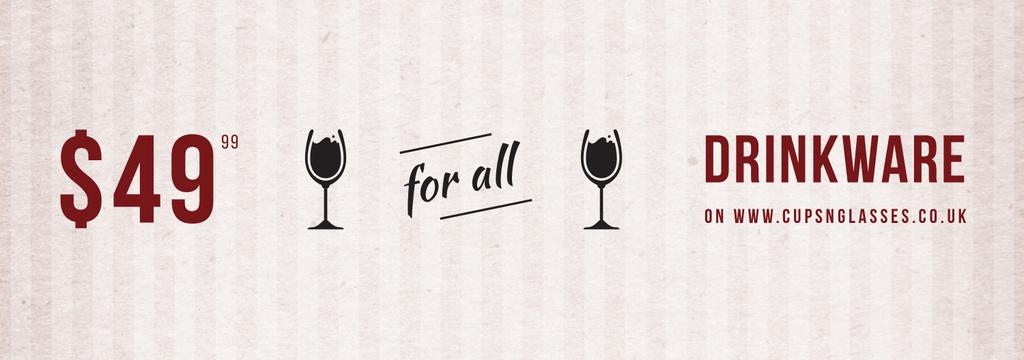 Drinkware Sale Glass with red wine — Créer un visuel
