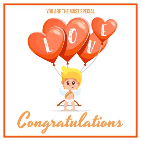 Ontwerpsjabloon van Instagram van Valentine's day Greeting with Cute Angel