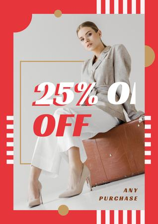 Template di design Young attractive woman in stylish clothes Poster